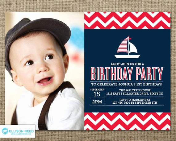 Baby Boy Birthday Invitation New Items Similar to Nautical Birthday Invitation Nautical