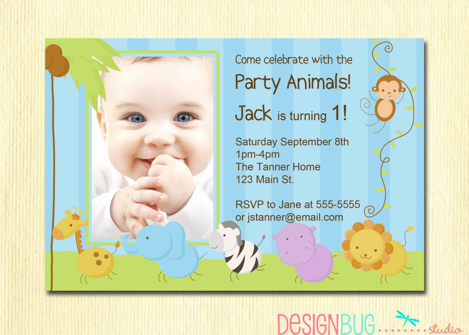 Baby Boy Birthday Invitation Unique First Birthday Boy Invitation Baby Jungle Safari Party