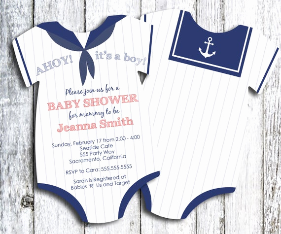 Baby Boy Invitation Ideas Best Of Sailor Baby Shower Invitation Nautical themed Shower