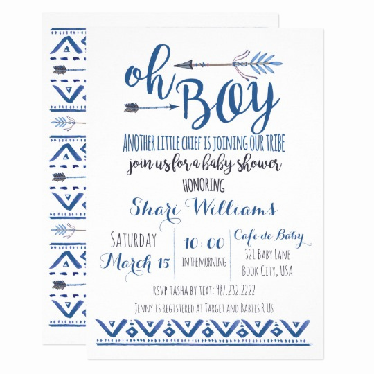 Baby Boy Invitation Ideas Lovely Oh Boy Tribal Baby Shower Invitation