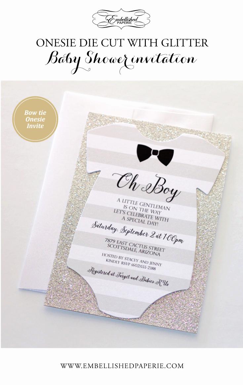 Baby Boy Shower Invitation Ideas Lovely Baby Shower Esie Invitation Glitter Shower Invitation