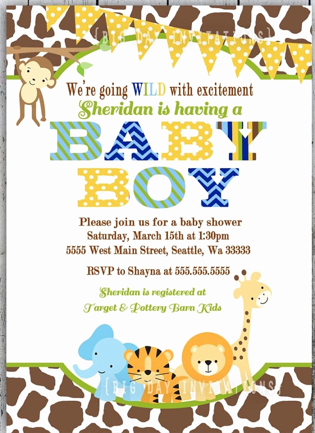 Baby Boy Shower Invitation Wording Awesome Baby Shower Jungle Invitation Template