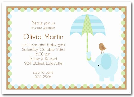 Baby Boy Shower Invitation Wording Elegant Elephant & Umbrella Boy Baby Shower Invitations