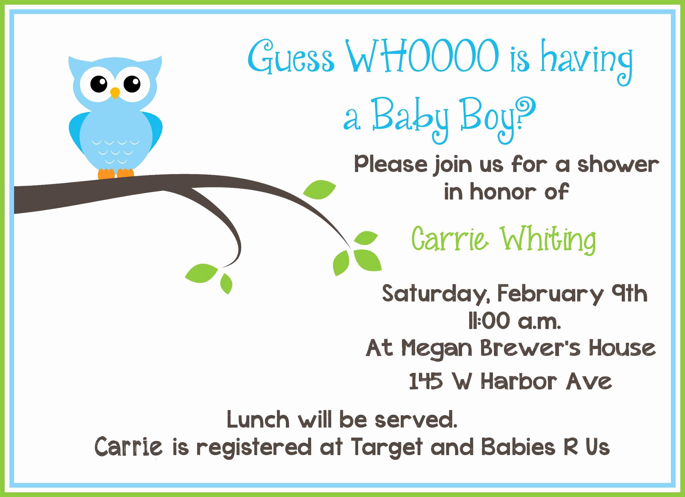 Baby Boy Shower Invitation Wording Elegant Free Printable Owl Baby Shower Invitations