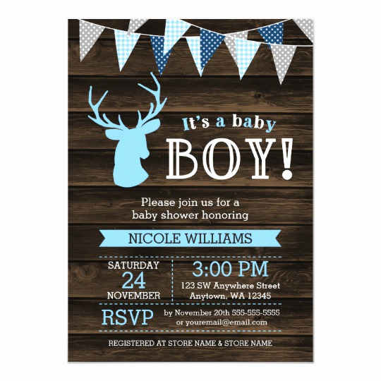 Baby Boy Shower Invitation Wording Elegant Rustic Wood Blue Deer Boy Baby Shower Invitations