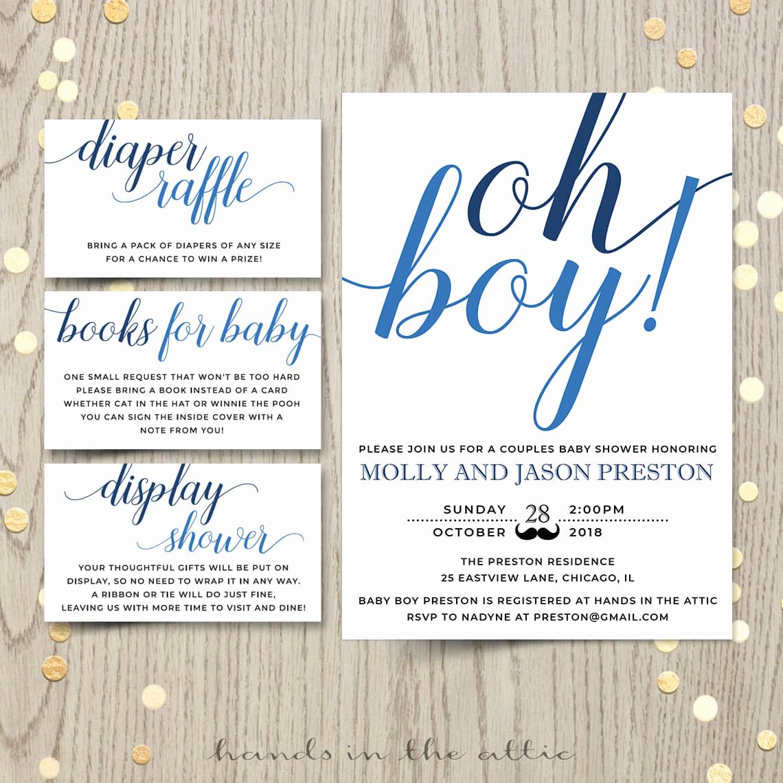 Baby Boy Shower Invitation Wording Inspirational Oh Boy Baby Shower Invitation