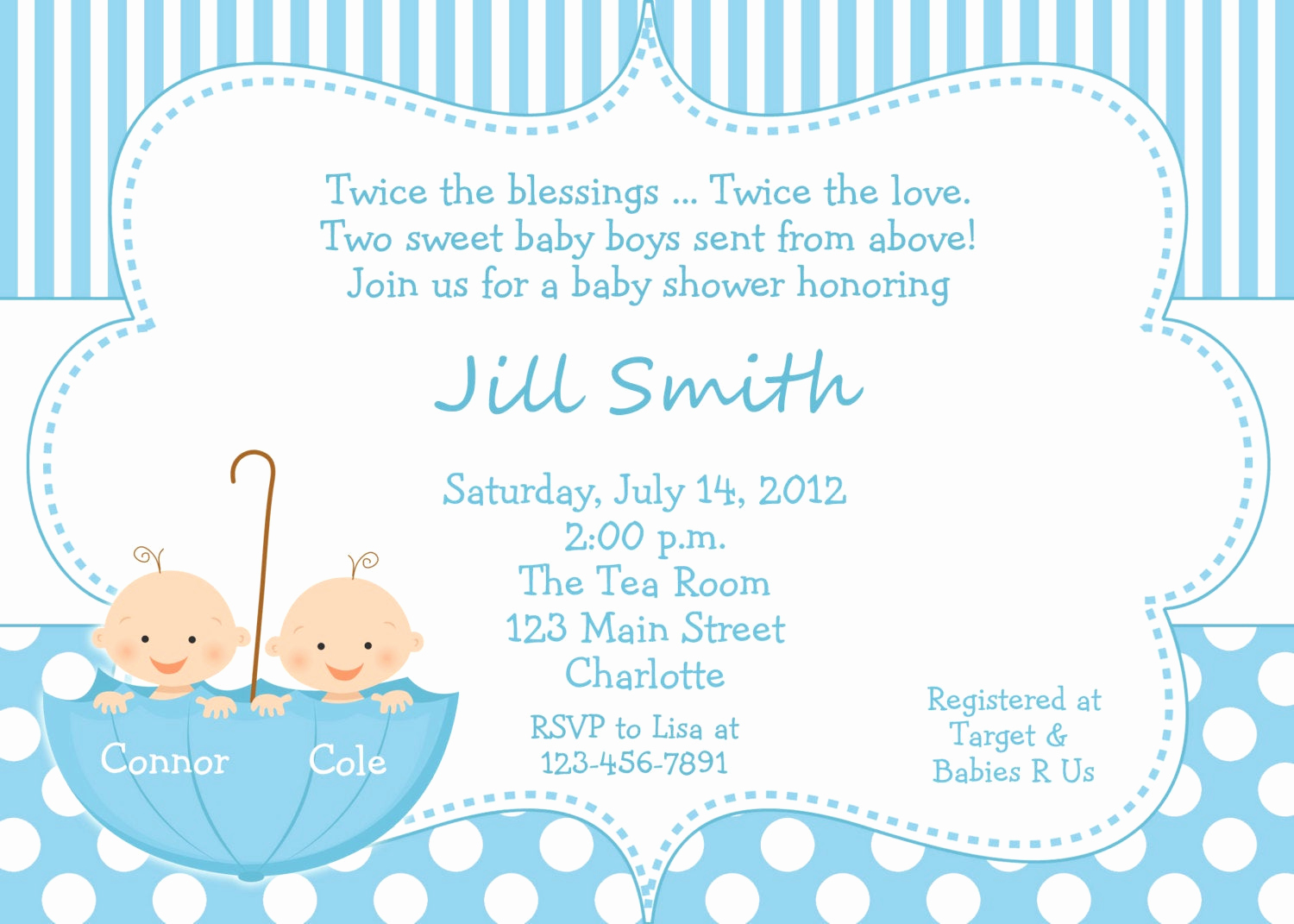 Baby Boy Shower Invitation Wording Inspirational Twin Baby Boys Shower Invitation Twins Shower Blue Polka
