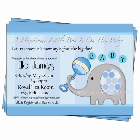 Baby Boy Shower Invitation Wording New Baby Boy Shower Invitation Elephant Party by Cupcakedream