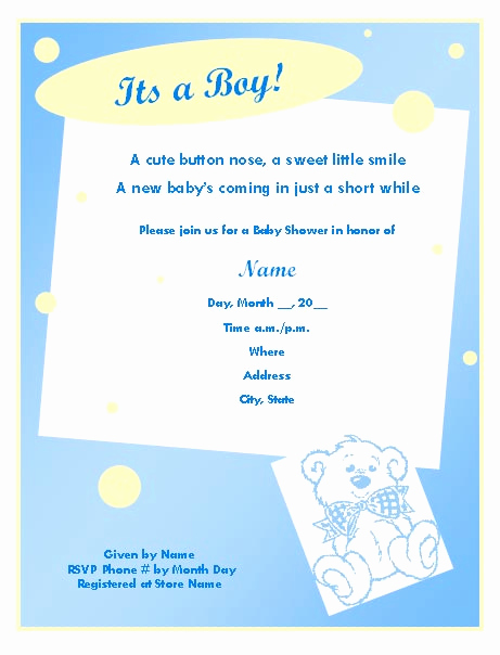 Baby Boy Shower Invitation Wording Unique Baby Shower Invitation Template for Boy