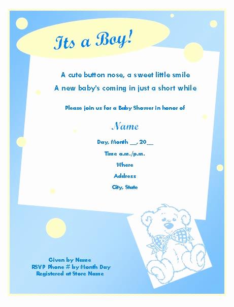 Baby Boy Shower Invitation Wording Unique Baby Shower Invitation Template for Boy