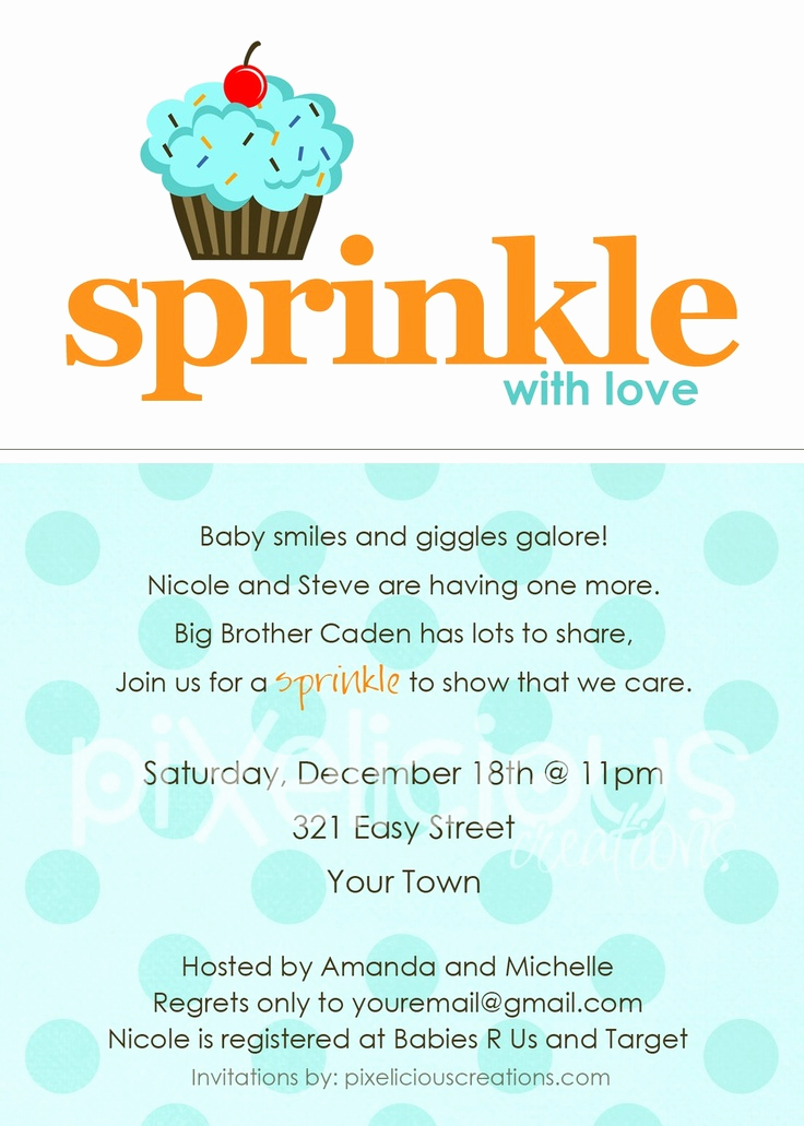 Baby Boy Shower Invitation Wording Unique Sprinkle Custom Baby Shower Invitation Girl or Boy
