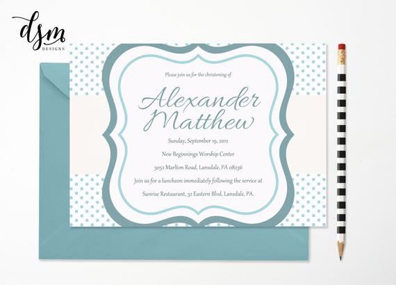 Baby Dedication Invitation Template Awesome Baby Dedication Christening Boy Invitation by Blesseddayeverco