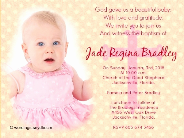 Baby Dedication Invitation Wording Awesome Baby Baptism Invitation Wording Cobypic