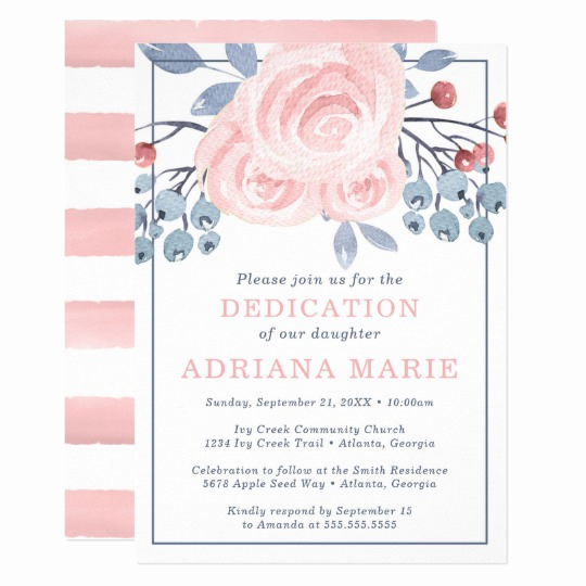 Baby Dedication Invitation Wording Awesome Baby Dedication Invitation Baptism Flowers Invitation