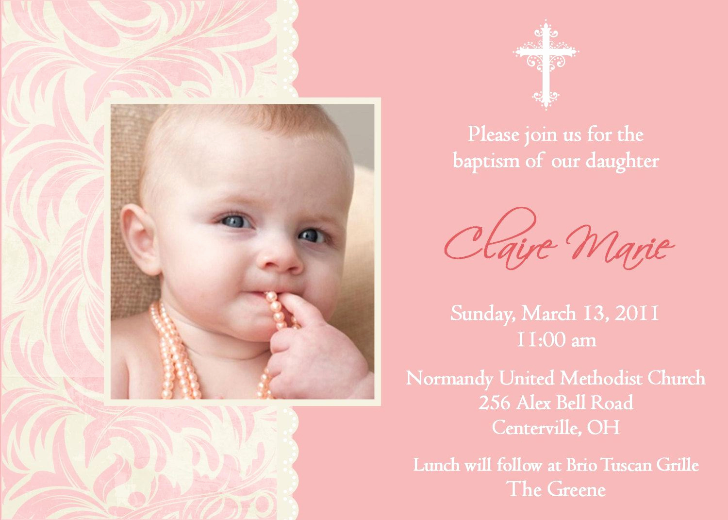 Baby Dedication Invitation Wording Awesome Baptism Invitations for Girl Christening Invitation