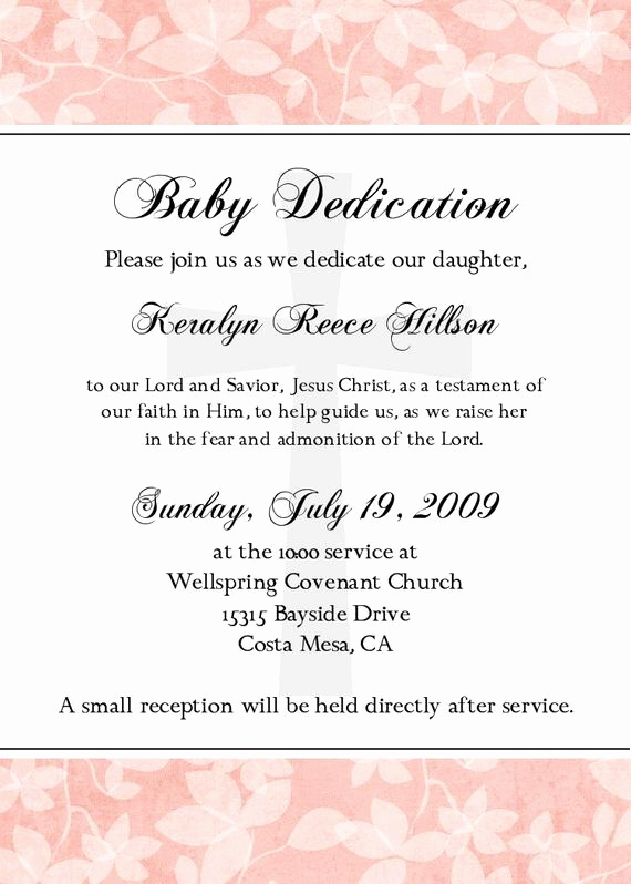 Baby Dedication Invitation Wording Fresh Infant Dedication Invitation for A Baby Girl You Print