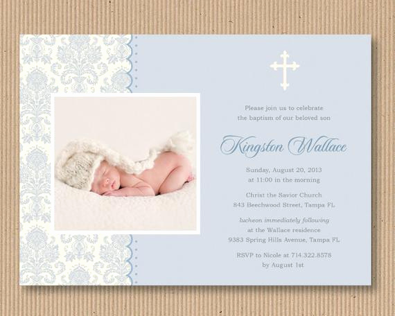 Baby Dedication Invitation Wording New Items Similar to Baby Boy Baptism or Dedication Invitation