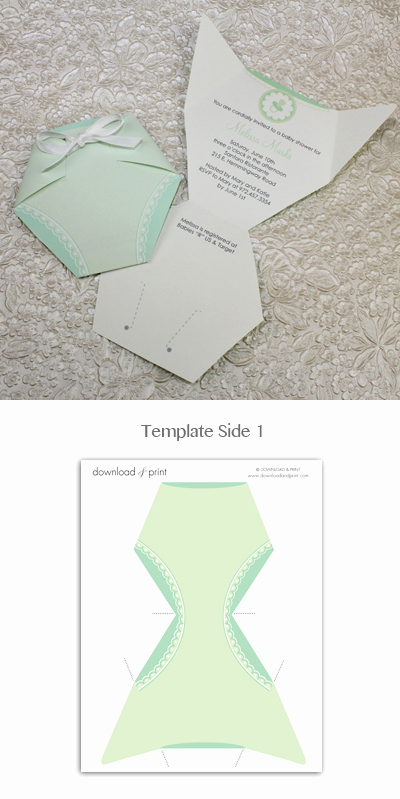 Baby Diaper Invitation Template New Baby Shower Invitation Template Green Diaper