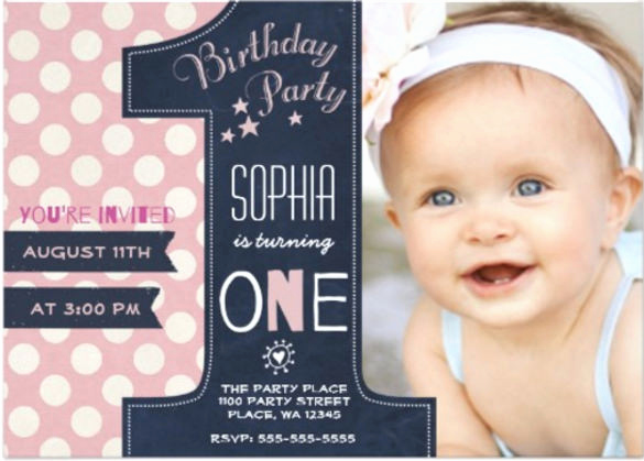 Baby Girl First Birthday Invitation Beautiful 36 First Birthday Invitations Psd Vector Eps Ai Word