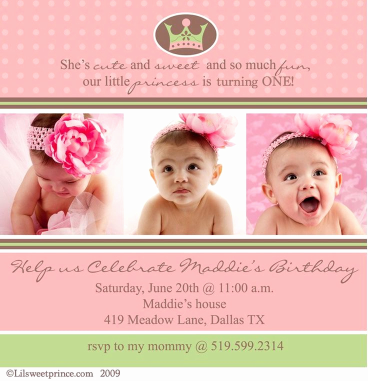 "Baby Girl First Birthday Invitation Beautiful Love the Wording ""she S Cute and Sweet and so Much Fun"