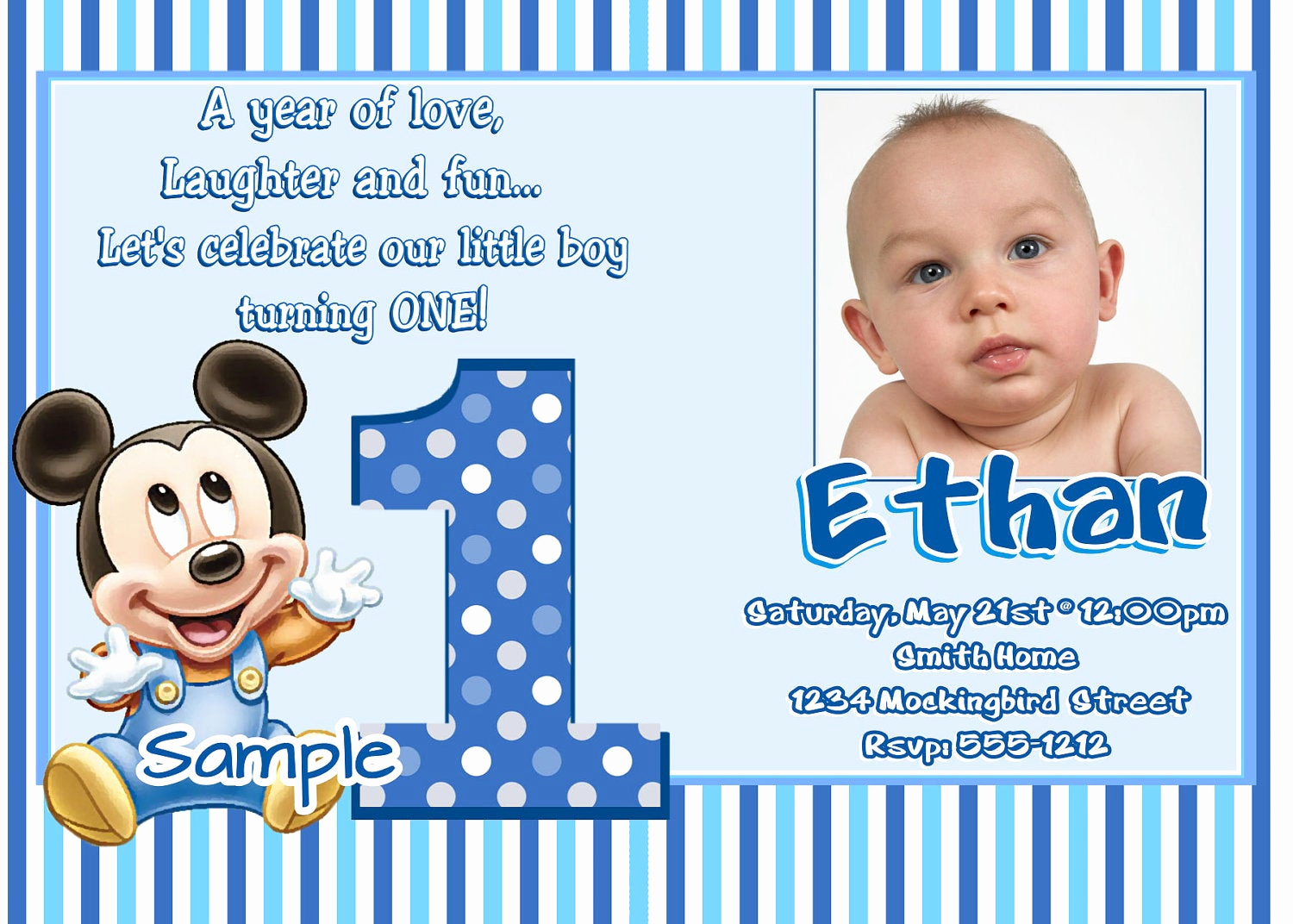 Baby Girl First Birthday Invitation Beautiful Mickey Mouse 1st Birthday Invitations Baby Mickey Mouse 1st