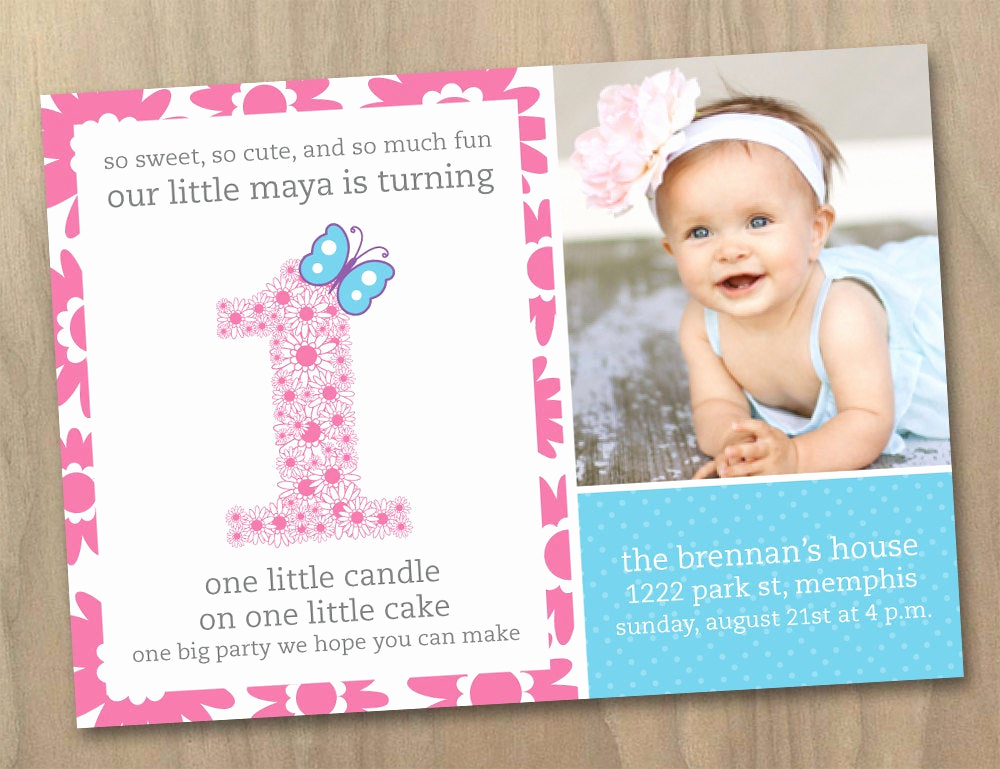 Baby Girl First Birthday Invitation Best Of Baby Girl First 1st Birthday Invitation by Designandlife