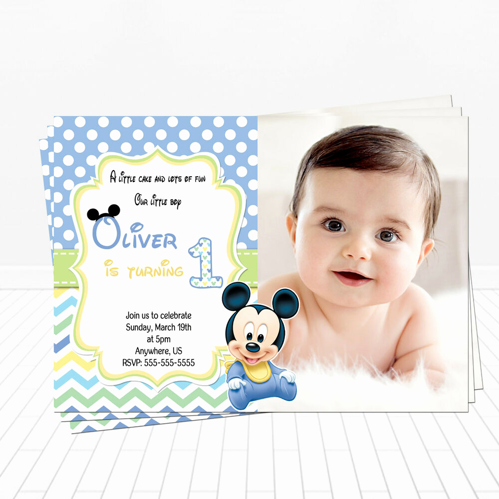 Baby Girl First Birthday Invitation Elegant Printed Baby Mickey Mouse 1st Birthday Invitations Mickey