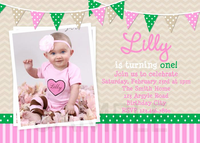 Baby Girl First Birthday Invitation Fresh Printable Birthday Invitations Girls Preppy Green Pink