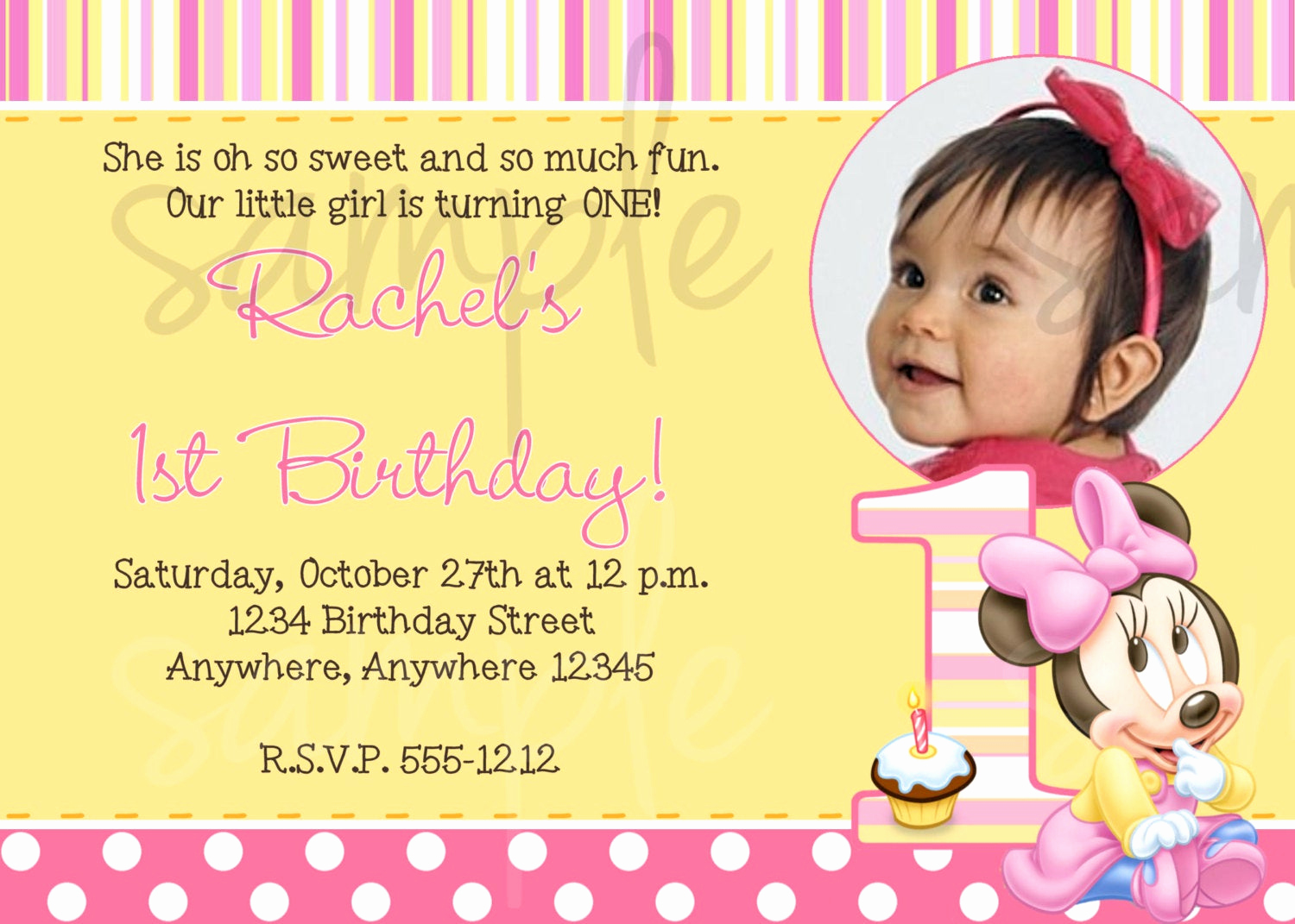 Baby Girl First Birthday Invitation Inspirational Minnie Mouse 1st Birthday Invitation