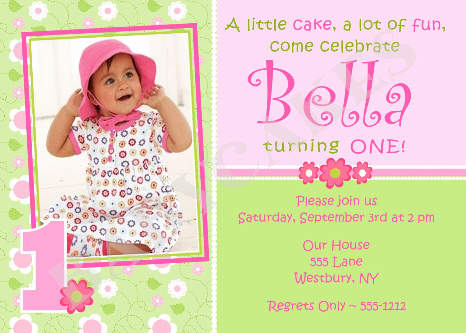 Baby Girl First Birthday Invitation Lovely 1st Birthday Invitations Girl Free Template Baby Girl S