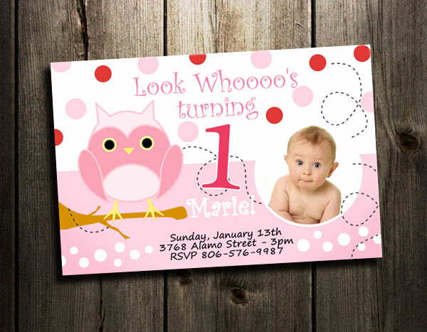 Baby Girl First Birthday Invitation Lovely Owl Birthday Party Invitation Custom 1st Baby Shower