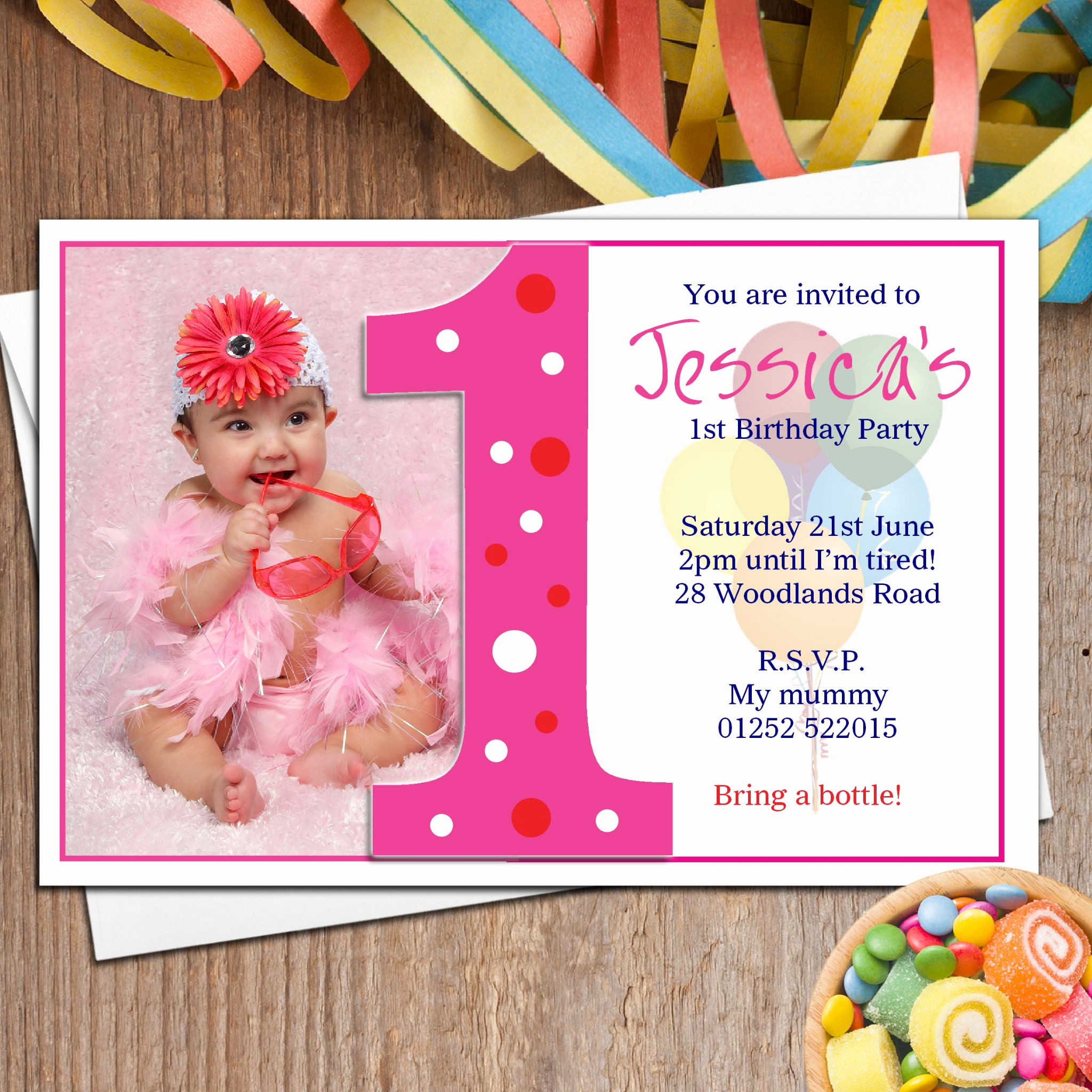 Baby Girl First Birthday Invitation Luxury 10 Personalised Girls First 1st Birthday Party Photo