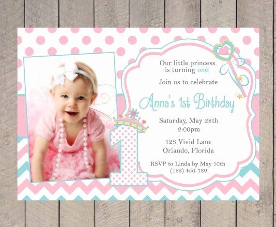 Baby Girl First Birthday Invitation Luxury Princess Birthday Invitation Girl Birthday Aqua and Pink