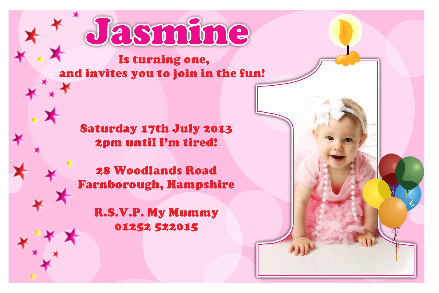 Baby Girl First Birthday Invitation New 1st Birthday Invitations Girl Free Template Baby Girl S