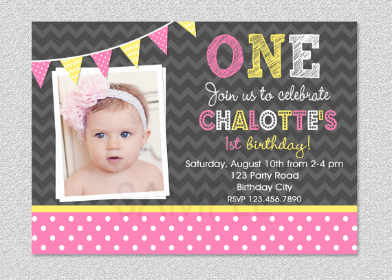 Baby Girl First Birthday Invitation New Baby Girl 1st Birthday Invitations