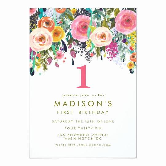 Baby Girl First Birthday Invitation Unique Painted Floral Girls 1st Birthday Invite
