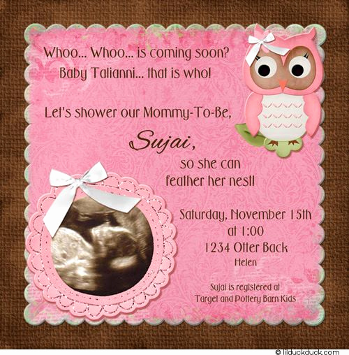 Baby Girl Shower Invitation Ideas Beautiful Owl Ultrasound Invitation Pretty Pink & Brown Baby