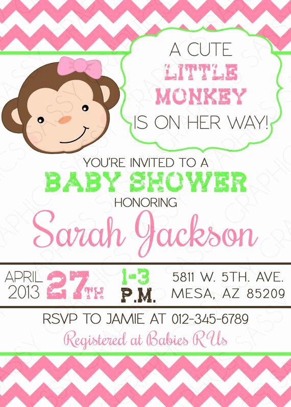 Baby Girl Shower Invitation Ideas Inspirational Monkey Baby Shower Invitation Girl Baby Shower Invite