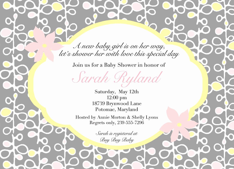 Baby Girl Shower Invitation Ideas Lovely Download Free Template Baby Shower Invitation Wordings