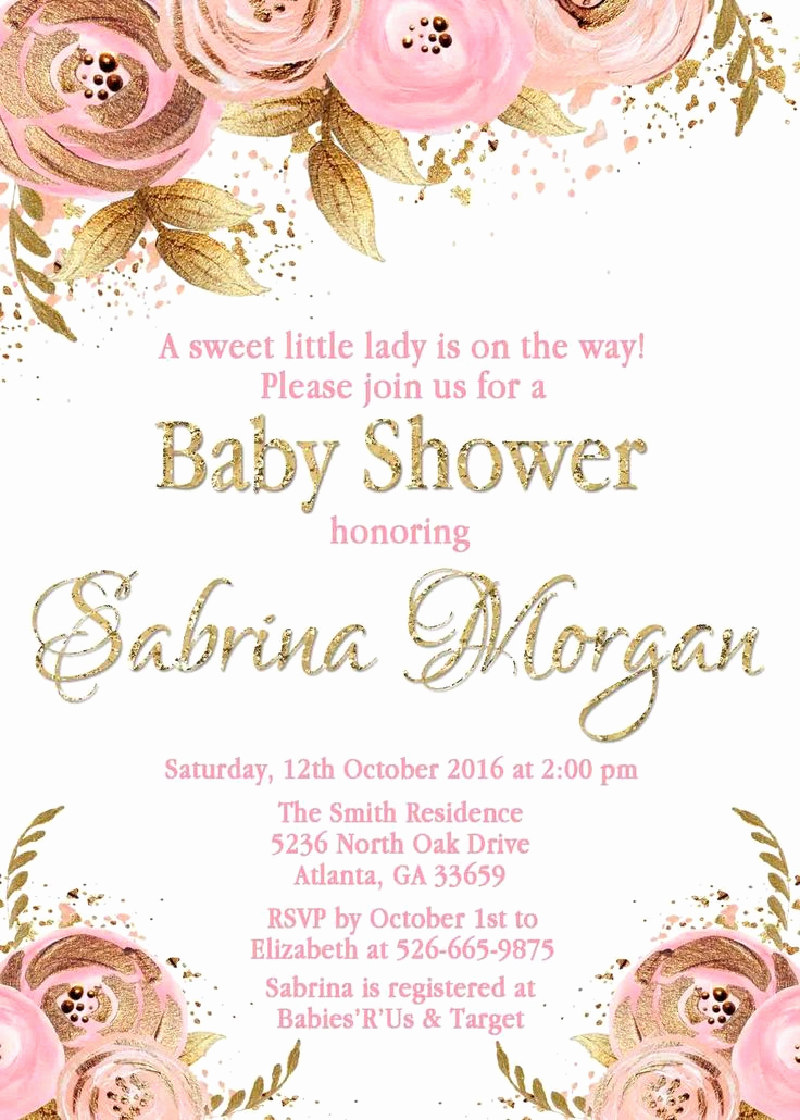Baby Girl Shower Invitation Ideas Luxury I Like the Wording Floral Pink and Gold Invitation