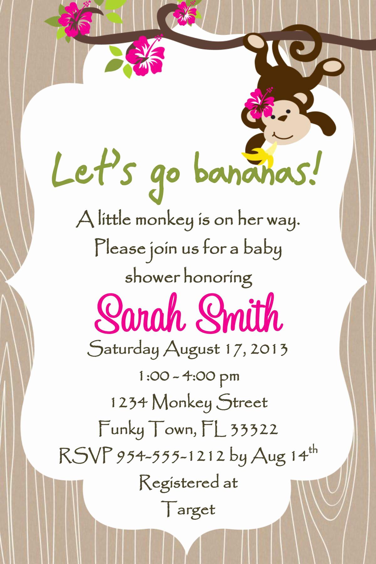 Baby Girl Shower Invitation Ideas New Monkey Baby Shower Invitation Girl Lucky Bean