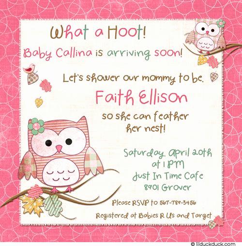 Baby Girl Shower Invitation Ideas Unique Hoot Pink Shower Invitation Cute Baby Girl Owl Wording