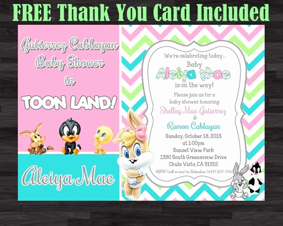 Baby Looney Tunes Invitation Awesome Baby Tunes Invitation Baby Shower Invitation by soniardesigns
