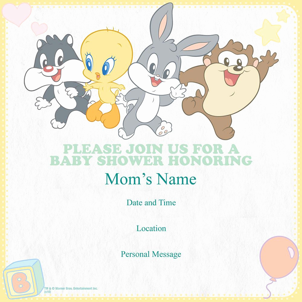 Baby Looney Tunes Invitation Awesome Looney Tune Baby Shower Invitation Google Search