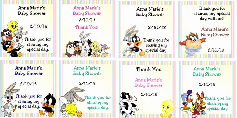 Baby Looney Tunes Invitation Beautiful 30 Baby Shower Gift Tags Favor Tags Baby Looney Tunes