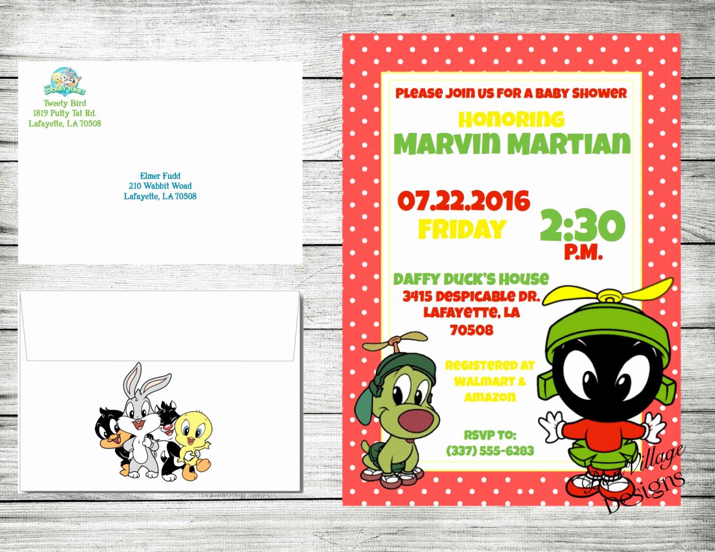 Baby Looney Tunes Invitation Beautiful Shower Baby Looney Tunes Invitations