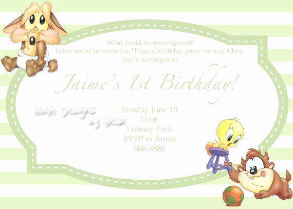 Baby Looney Tunes Invitation Elegant Baby Looney Tunes Birthday Invite by Hmadesignsbybella On