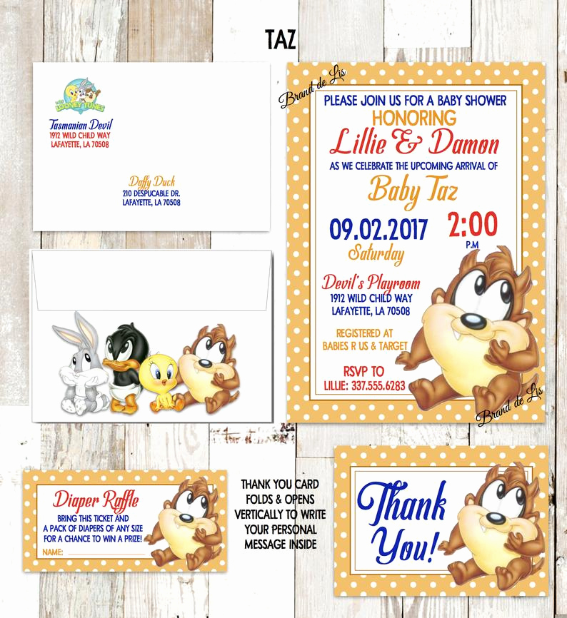 Baby Looney Tunes Invitation Elegant Looney Tunes Baby Shower Invitations Bugs Bunny Daffy Duck