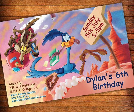 Baby Looney Tunes Invitation Elegant Road Runner Wile E Coyote Invitation Roadrunner Looney
