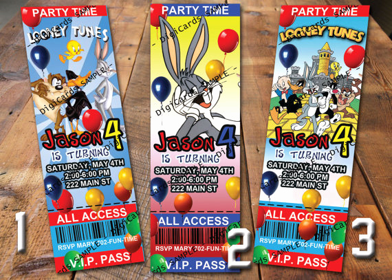 Baby Looney Tunes Invitation Fresh Looney Tunes Birthday Invitation Ticket From Digicards On Etsy